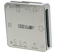 All-in-1 USB 3.0 Memory Card Reader (White+Silver)