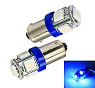 Merdia BA9S 65LM 1W 5x5050SMD LED Blue Car Indicator Light / Instrument / Clearance Lamp-(Pair / 12V)