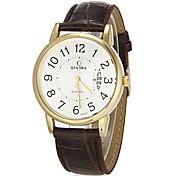 Calendário dos homens Ouro Round Dial Pu couro banda relógio de pulso de quartzo analógico (cores sortidas)