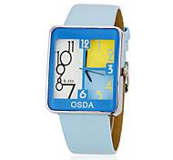 Women's Lovely Square Dial Blue PU Band Quartz Analog Wrist Watch
