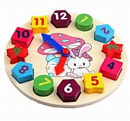 Baby  Educational Toys Wooden Rabbit Colorful Clock Blocks