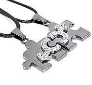 Forme pares (Puzzle Pingente) Silver Titanium pingente de aço (2 Pcs)