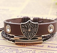 Vintage 24cm Men's Brown Leather Charm Bracelet (1 Pc)