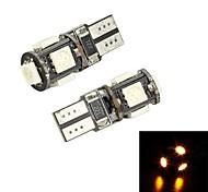 Merdia T10 5 x 5050 SMD LED Luz Amarilla de decodificación para la matrícula del coche Luz / Luz de lectura (par / 12 V)