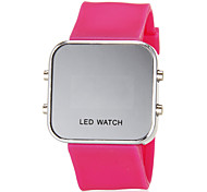 Women's Blue LED Digital Silver Case Silicone Band Faceless Watch (Assorted Colors)