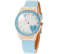 Women's Heart Pattern Round Dial Pu Band Quartz Analog Wrist Watch (Assorted Colors)