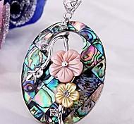 Oval Flowers Metal Paua Abalone Shell Pendant