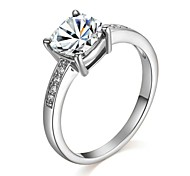 Lady's Wedding Four Claws Clear Simulated Diamond Ring