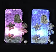 Purple and White Pearl Crystal Pattern LED Flash Lighting Hard Case for iPhone 4/4S