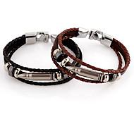 Punk Bullet 22cm Unisex Silver Stainless Steel Leather Bracelet(Black,Coffee)(1 Pc)