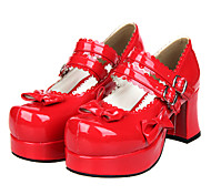 Two Mixing Color Bowknot Sweet Lolita PU Leather 7.5cm High-heeled Shoes