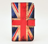 Retro Flag UK modello Cuoio Hard Case con magnetica a scatto e fessura per carta per Nokia Lumia N520