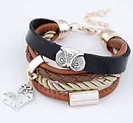Leather Bracelet Multilayer European and American Fashion  Simple Metal Owl Hearts Fall Cortical Bracelet