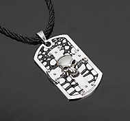 Z&X®  Gothic Cross (Skull) Black Leather Pendant Necklace (1 Pc)