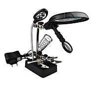 MG16129-C Helping Hand Multifuncional Magnifier 10X 7,5 X 2,5 X Com 5 luzes LED Desktop Magnifier para reparar De Modelo