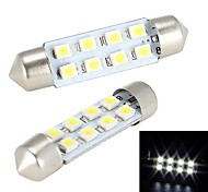 Merdia-Girlande 41mm 8 x 1210 SMD LED White Light Car Steering Birne / Leselampe - (2 PCS)