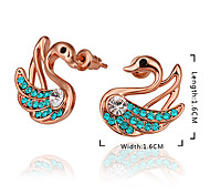 Graceful Hot Sale Swan Gold-Plated Alloy Stud Earring(1 Pair)(Blue,Clear)