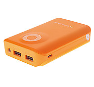 8800mAh Plastic Polymeride Dual-Ports Smart Power Bank for Cell Phones and Pads (Orange)