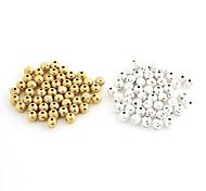 Fashion Sphère d'or en alliage de bricolage Perles 50 PCs / sac (or, argent)