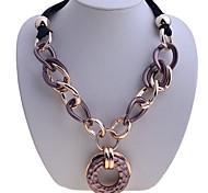 Lureme®Ribbon Metal Feeling Acrylic Circle Pendant Necklace
