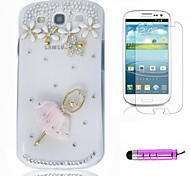 Pink Ballerina Plastiktelefon-Shell + Film + HD Mini Stylus 3 in1 für Samsung Galaxy S3 i9300