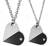 Collier Couple de coeur de mode rotatif en acier inoxydable (2 PCS)