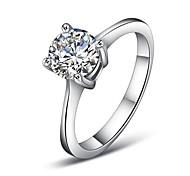 plaqué platine quatre griffes anneau de mariage de diamant simulé