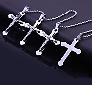 Персонализированные подарок ювелирных изделий из нержавеющей стали Креста гравировкой ожерелье (В течение 10 символов)