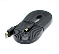 HDMI 3D 1.4 Male to Male Flat Slim HDTV 1080p Video Audio Cable 3m 10ft Black with ethernet function