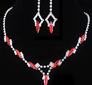 свадьба красный элегантный rhinetone Crytal серьги и ожерелье ювелирные изделия и др