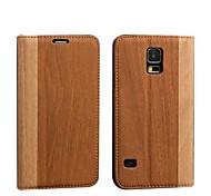 Juegos de madera del modelo de tarjeta de la PU de cuero elegante de caso con sueño para S5/i9600