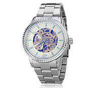 Men's Auto-Mechanical Skeleton Silver Steel Band Wrist Watch (Assorted Colors)
