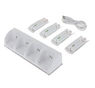 Batería USB estación de carga con cuatro baterías recargables para Wii (color blanco)