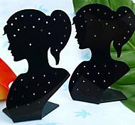 Moda Acrílico Lady Jóias Beleza Display Stand Para Brincos (preto) (1pc)