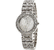 Women's Diamante Rose Pattern Round Dial Alloy Band Quartz Analog Luxury Watch (Assorted Color)