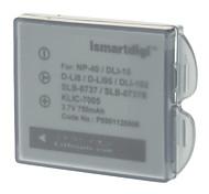 ismartdigi 750mAh Camera Battery+Car Charger for Fuji F700 PENTAXD-Li95,Kodak KLIC7005/Ricoh DLI-102