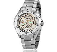 Unisex Night Light All Matched Round Dial Alloy Band Auto-Merchanical Skeleton Watch (Assorted Color)