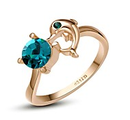 Unique 18K Rose Gold Plated Use Swaro Crystal Bluezircon Dolphin Ring