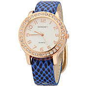 Women's  Crystal   Rose Gold Face Case Pu Band  Quartz Wrist Watch (Assorted Colors)
