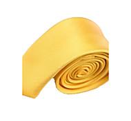 Uomo di colore solido di modo oro giallo Narrow microfibra cravatta