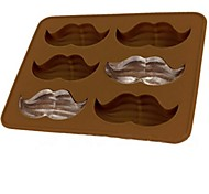 6 Holes Goatee Shape Icy Cube Tray, Silicone Material