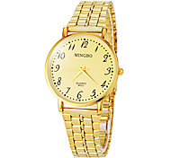 Masculino Relógio Elegante Quartz Banda Dourada marca-