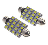 Festoon 0.6W 80-120LM 16 Led Car Lâmpadas-White (12V)