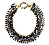 Punk Black And Gray Fabric With  Gold Alloy Statement Necklace (1 Pc)