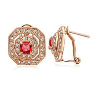 18K Jóias Vintage Rose banhado a ouro brilhando Áustria cristal de rubi Brincos
