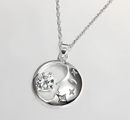 New Style Moon-Shape Silver Pendant Necklace With Rhinestone(1 Pc)