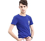 Men's Print Casual T-Shirt,Cotton Short Sleeve-Black / Blue / Brown / Green / Orange / Red / White / Gray