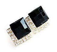 Shixin® Fashion Square Cut With  Cubic Zirconia And Black Gem Gold Alloy Stud Earrings (1 Pair)
