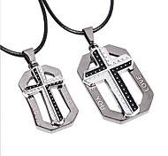 "Z&X®  Ethnic Couple's (""LOVE YOU"" Cross Pendant) Silver Alloy Pendant Necklace (2 Pcs)"