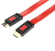 HDMI 1.4 Male to Male Flat Connecting Cable (Red&Black 1M)